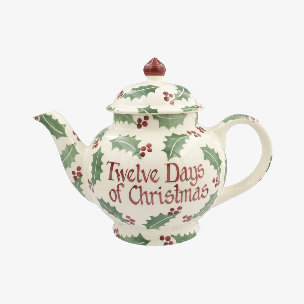 Personalised Christmas Holly 4 Mug Teapot