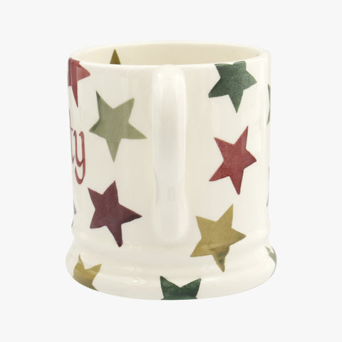 Personalised Christmas Multi Star 1/2 Pint Mug