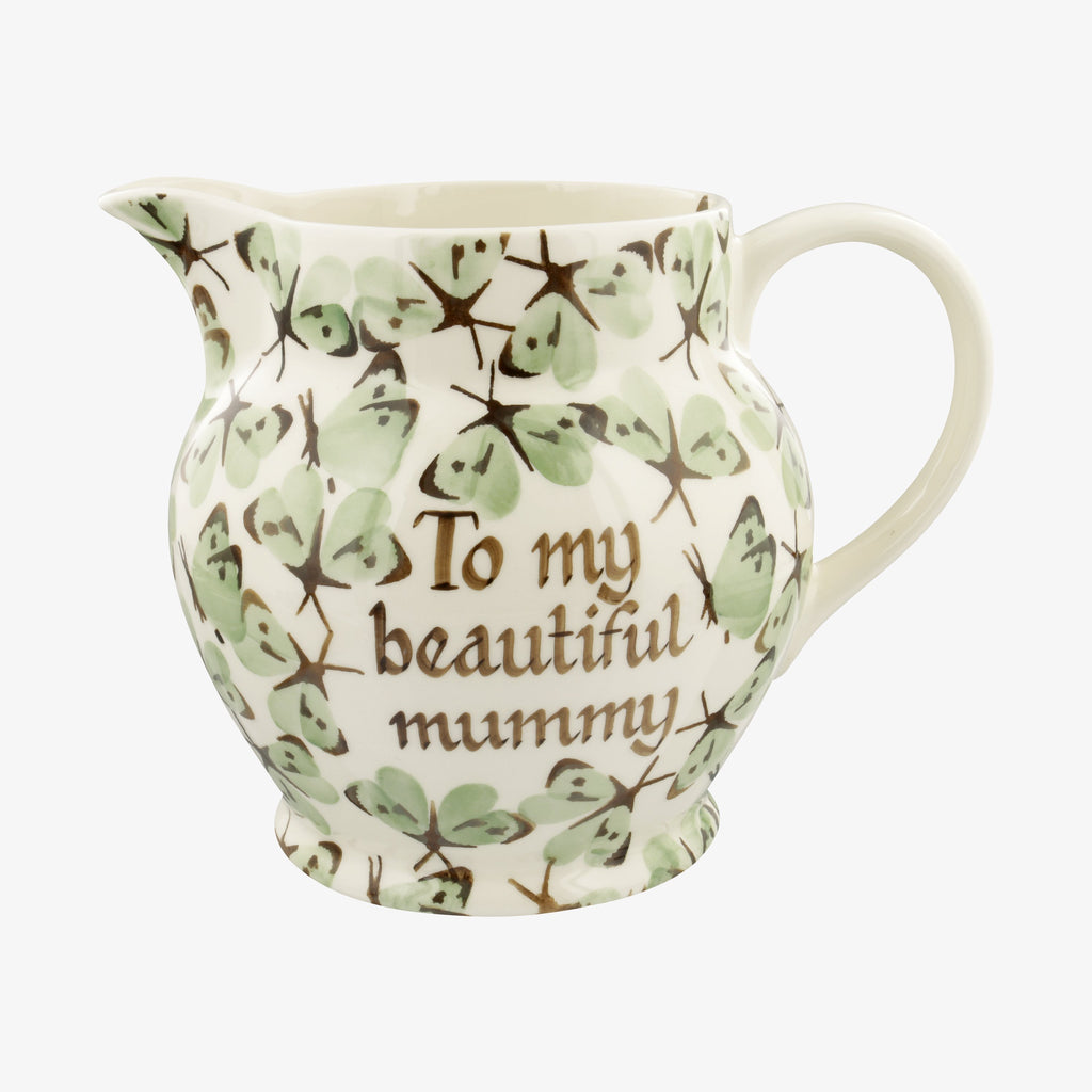 Personalised Green Cabbage White Butterfly 3 Pint Jug