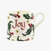 Personalised Christmas Holly With Star Small Mug
