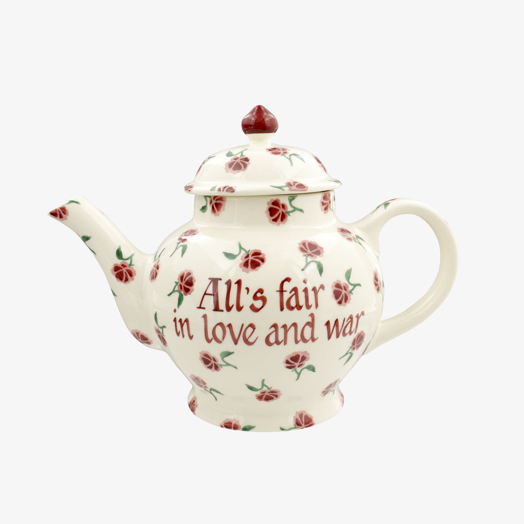 Personalised Little Pink Rose 4 Mug Teapot