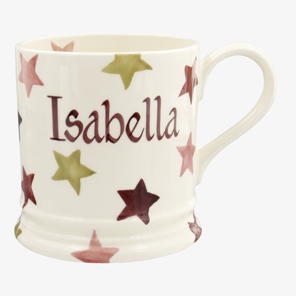 Personalised Pink & Gold Stars 1 Pint Mug