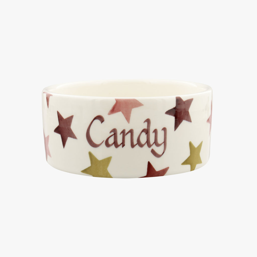 Personalised Pink & Gold Stars Small Pet Bowl