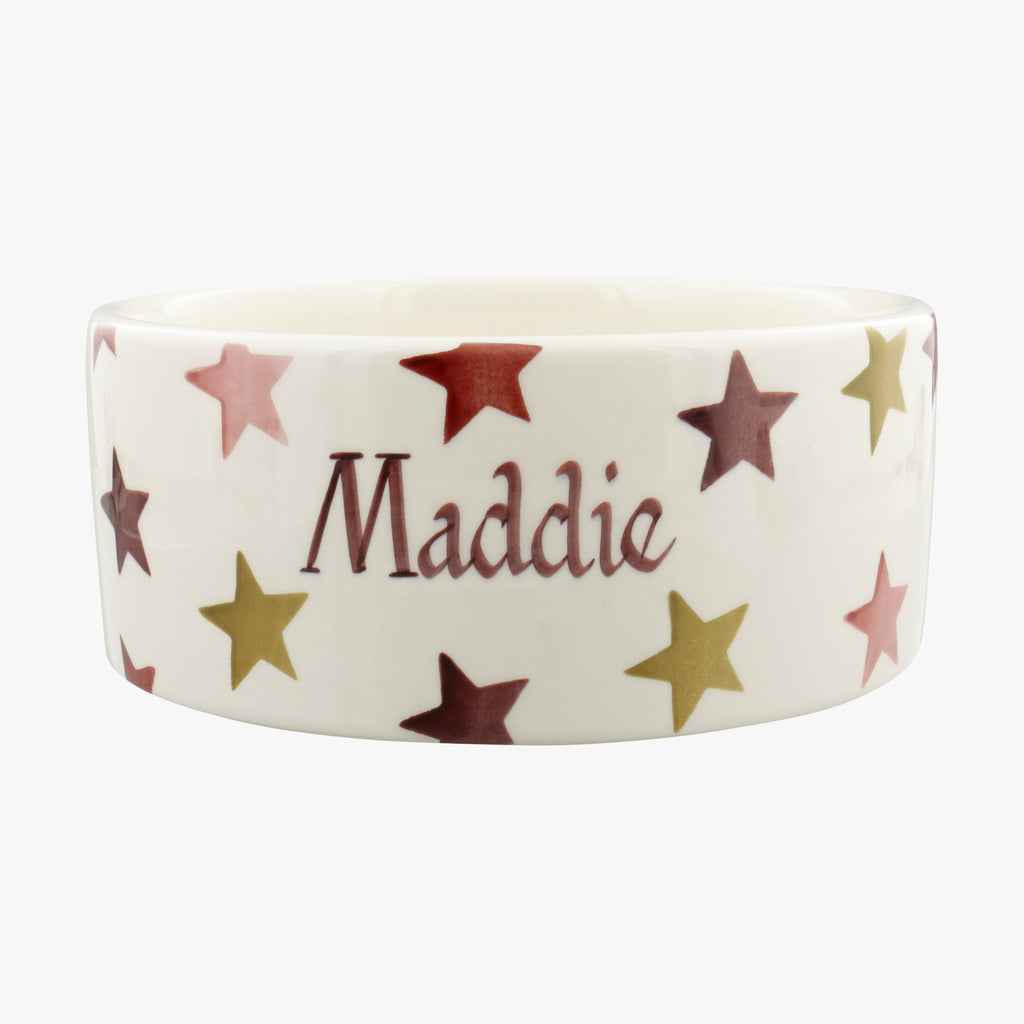 Personalised Pink & Gold Stars Large Pet Bowl