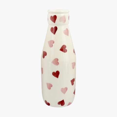 Personalised Pink Hearts Large Milk Bottle