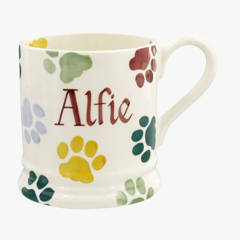 Personalised Polka Paws 1/2 Pint Mug