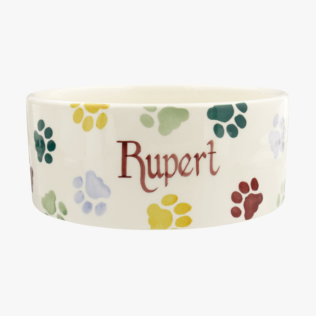 Personalised Polka Paws Large Pet Bowl