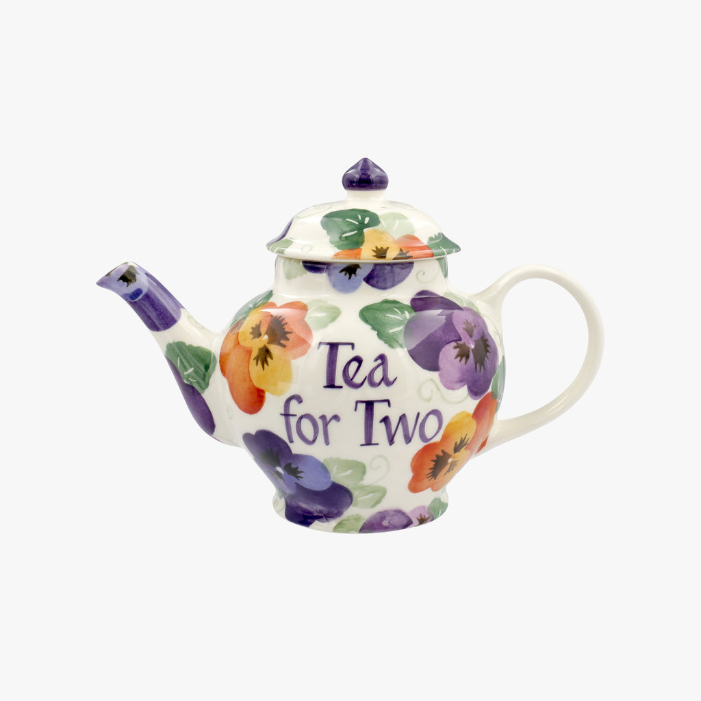 Personalised Purple Pansy 2 Mug Teapot