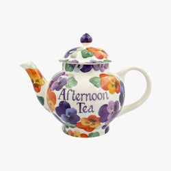Personalised Purple Pansy 4 Mug Teapot