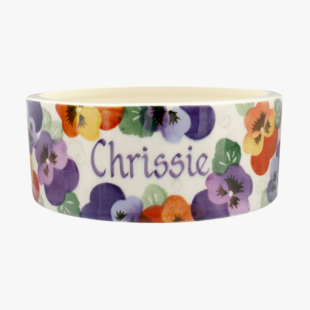 Personalised Purple Pansy Large Pet Bowl