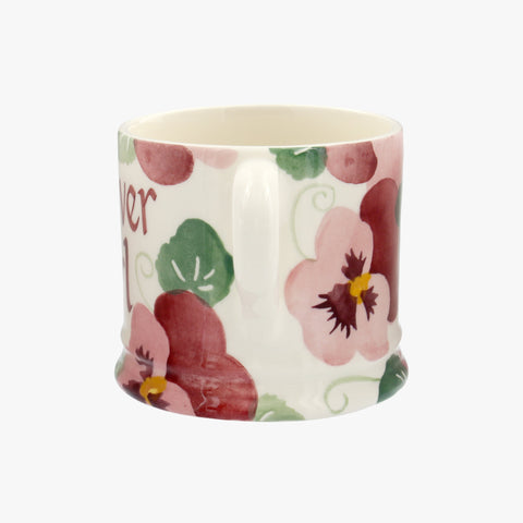 Personalised Pink Pansy Small Mug