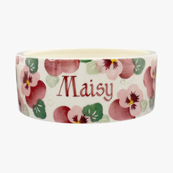 Personalised Pink Pansy Large Pet Bowl