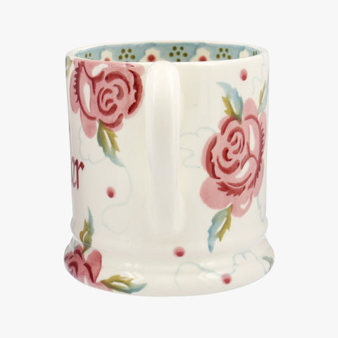 Personalised Rose & Bee 1/2 Pint Mug