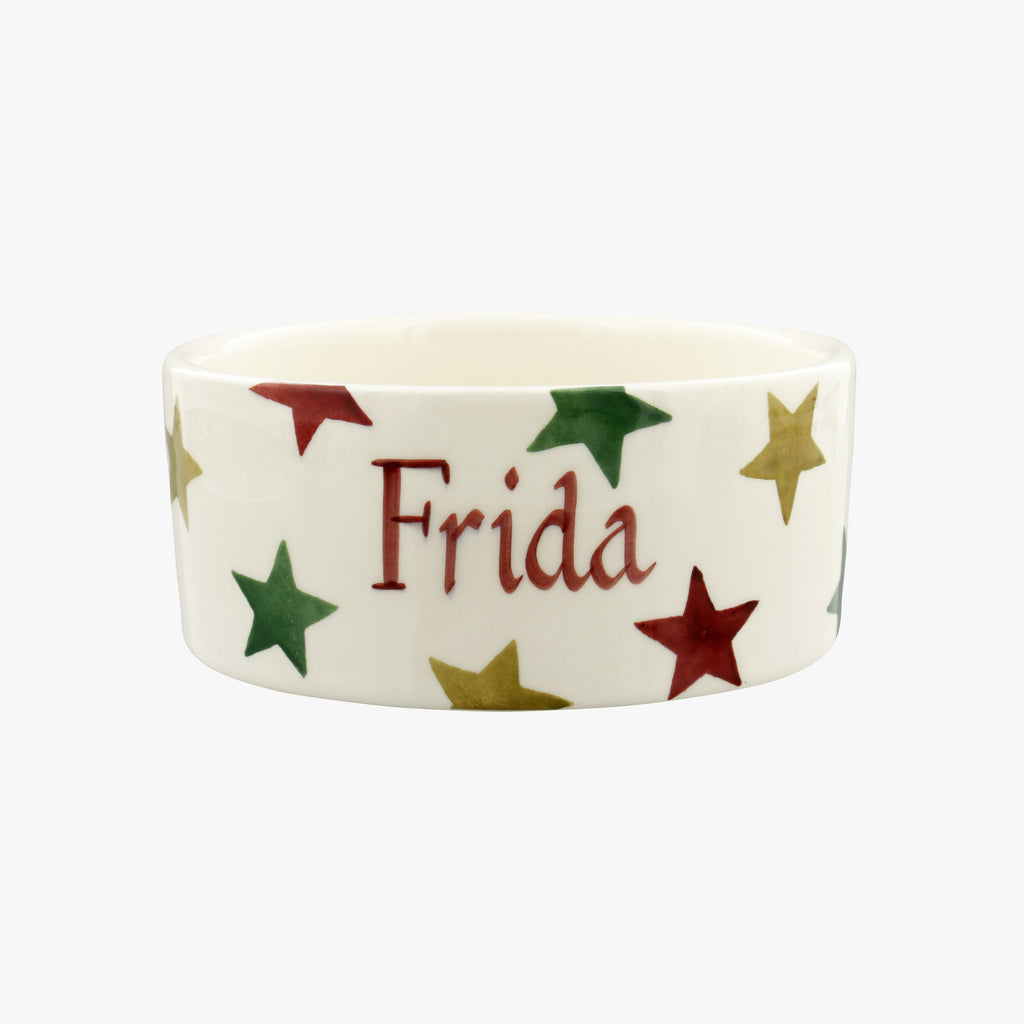 Personalised Red, Green & Gold Star Small Pet Bowl