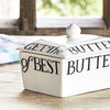 Emma Bridgewater Small Butter Dish. Ceramic earthenware dish in cream with black lettering. Store your butter at room temperature in our beautifully handcrafted dish.