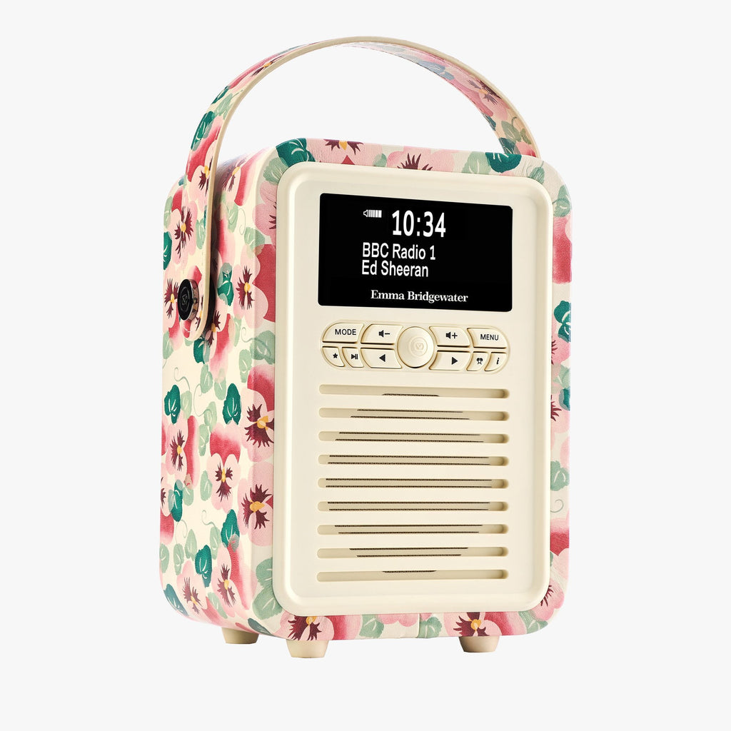 Pink Pansy Retro Mini Radio