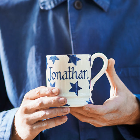Personalised Blue Star 1/2 Pint Mug