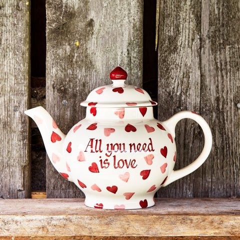 Personalised Pink Hearts 4 Mug Teapot