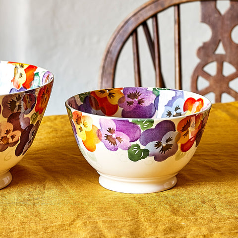 Purple Pansy Medium Old Bowl