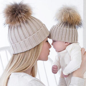 Mother and Baby Knitted Winter Cap