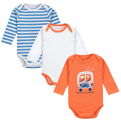 Cotton Baby Boys Girls Bodysuits Long Sleeve 3 Pack