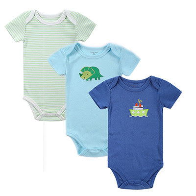 Short Sleeve Covered Button Onesie Set