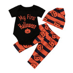 Halloween Pumpkin Romper Jumpsuit+Pants + Cap 3 Pcs Set