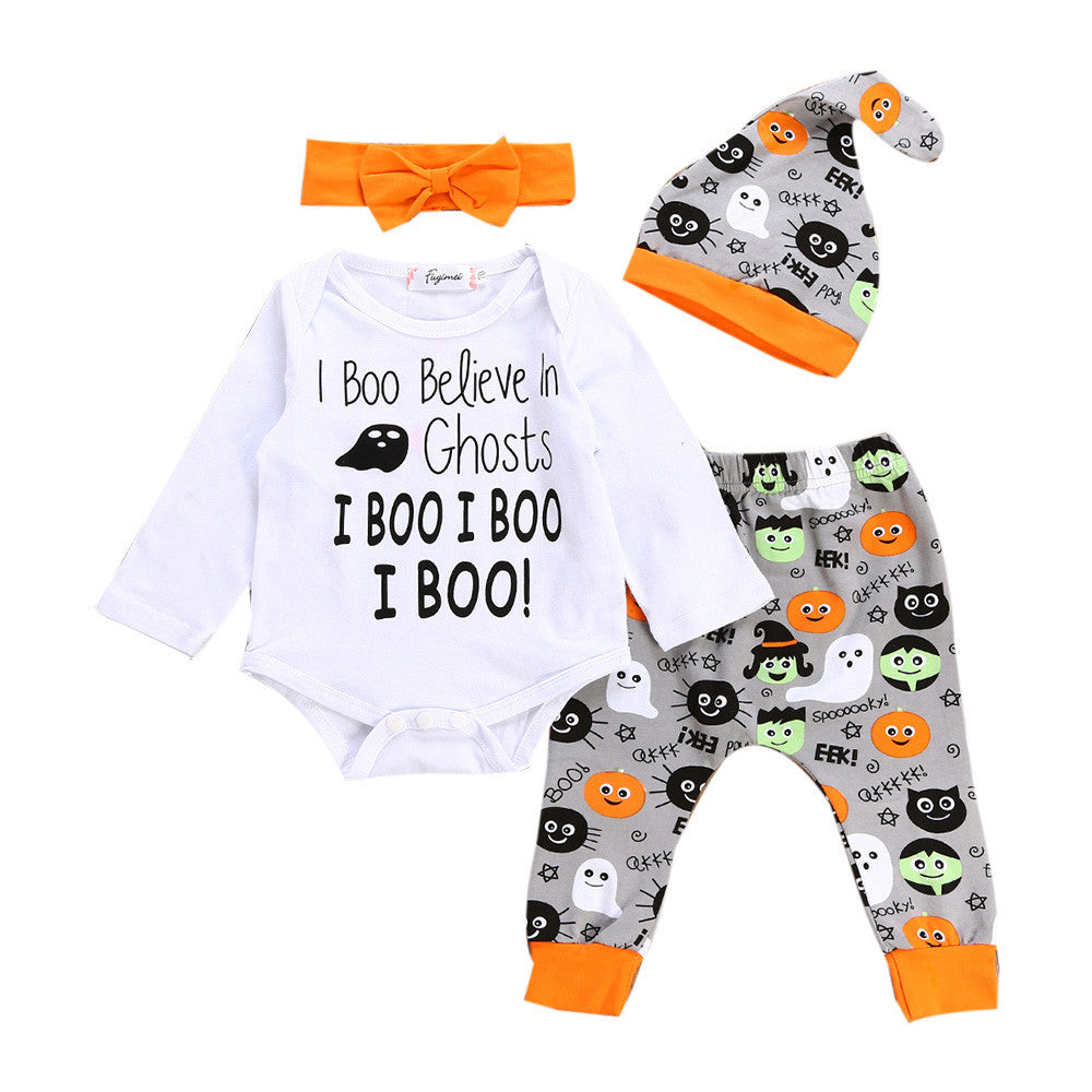 Newborn Infant Romper Tops+Pants Halloween Clothes Set