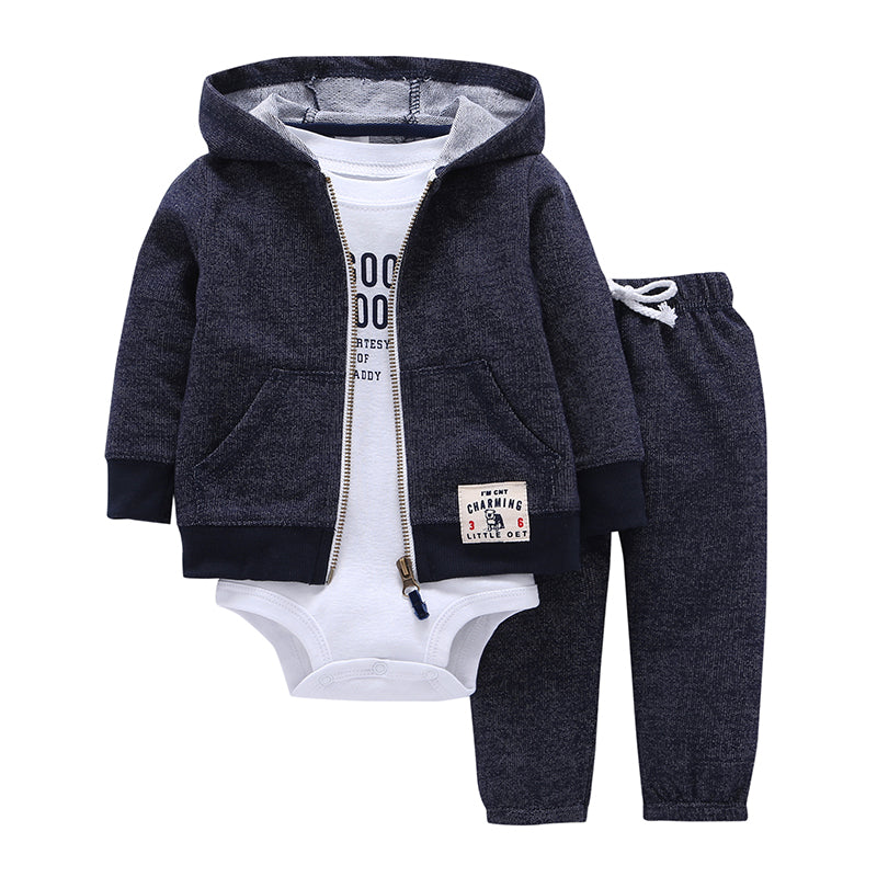 Hooded Cardigan Trousers with Bodysuit-3 Pcs