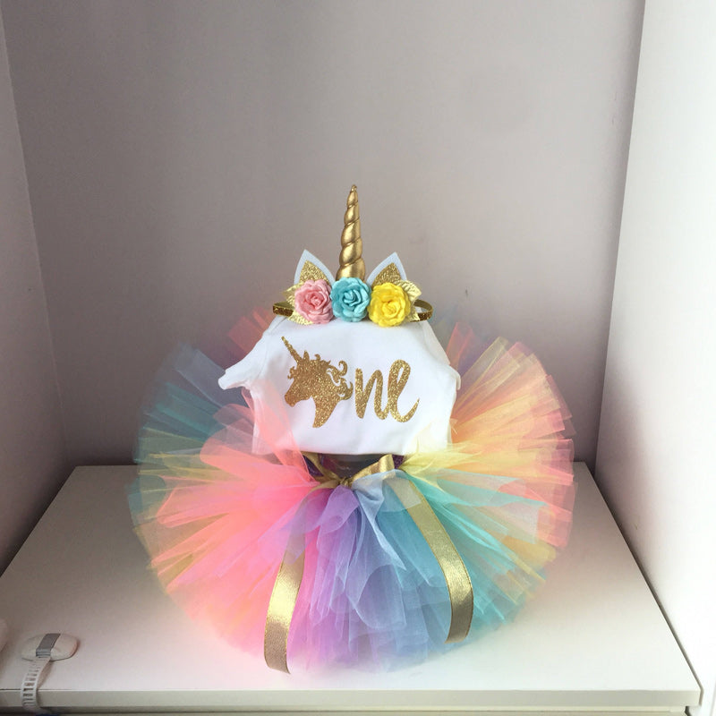 Girl Unicorn Party Clothing Sets With Hair Hoop