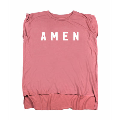 Amen Rolled Cuff Tee - Mauve - NHiM Apparel