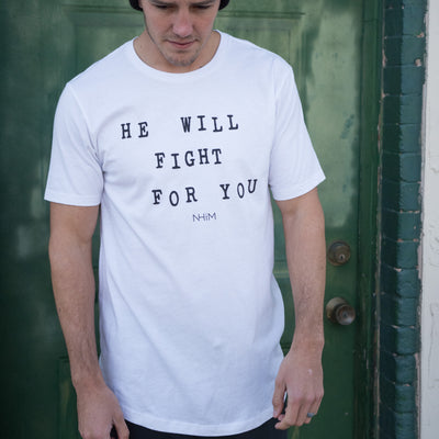 He Will Fight Long T - White - NHiM Apparel