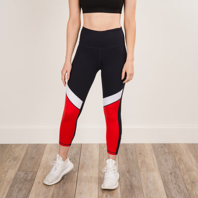 Rise Up Nautical Capri Leggings - Navy/Red/White