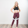 Victory NHiM Color Block Leggings - Deep Plum