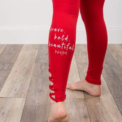 Brave Bold Beautiful Criss-Cross Leggings - Candy Red - NHiM Apparel