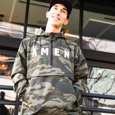 AMEN Half Zip Anorak Jacket - Camo - NHiM Apparel