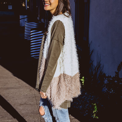 NHiM Faux Fur Color Block Vest - Ivory - NHiM Apparel