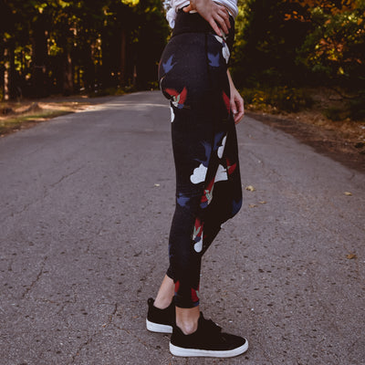 Majestic - Cranes Leggings in Obsidian - NHiM Apparel