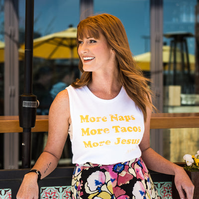 More Tacos More Jesus Tank - White - NHiM Apparel