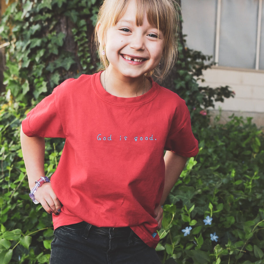 God is good Tee Kids [Red] - NHiM Apparel