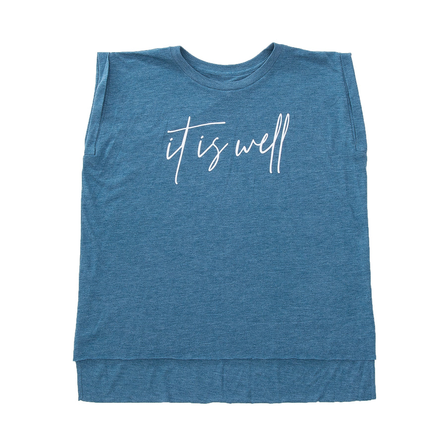 ebb8de9cba It is Well Rolled Cuff T - Heather Teal - NHiM Apparel