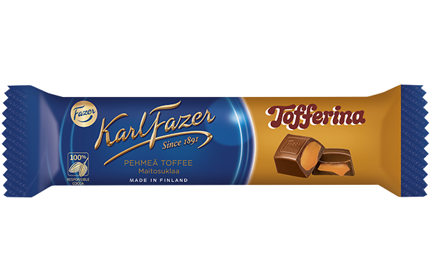 Fazer Tofferina Soft Toffee Milk Chocolate Bar 40g