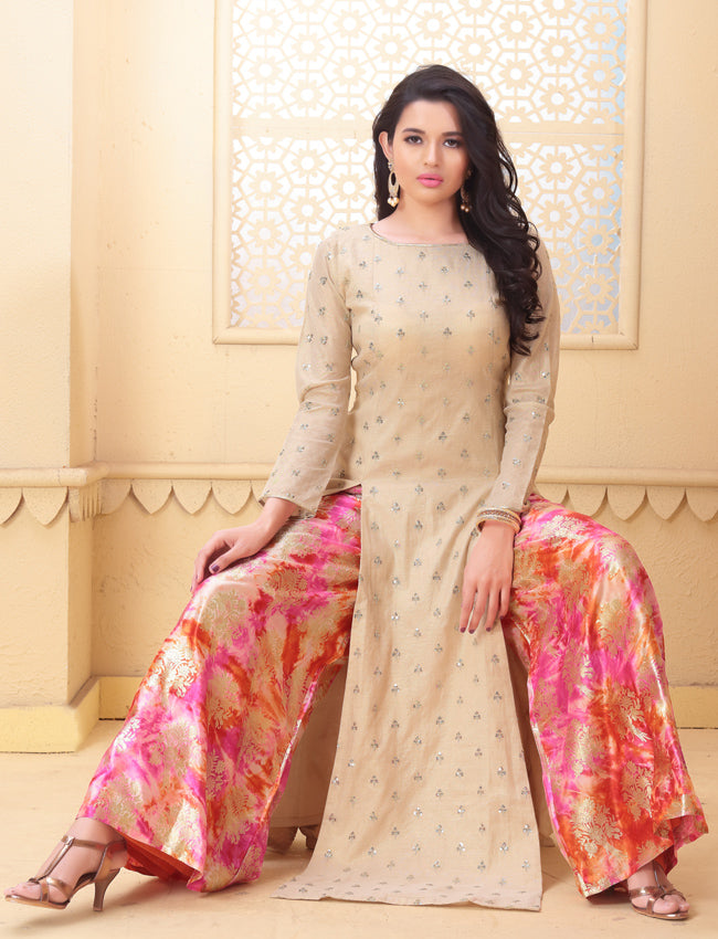 Beige palazzo suit with sequins work and foil prints