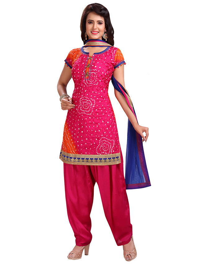 Deep pink orange shaded bandhani suit with sequins and zari border