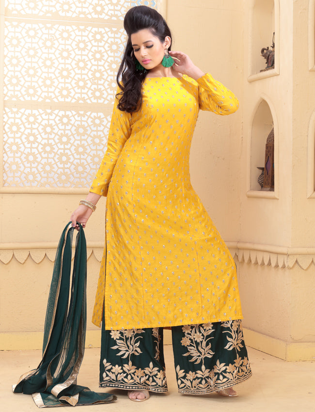 Yellow palazzo suit with sequins and zari embroidery