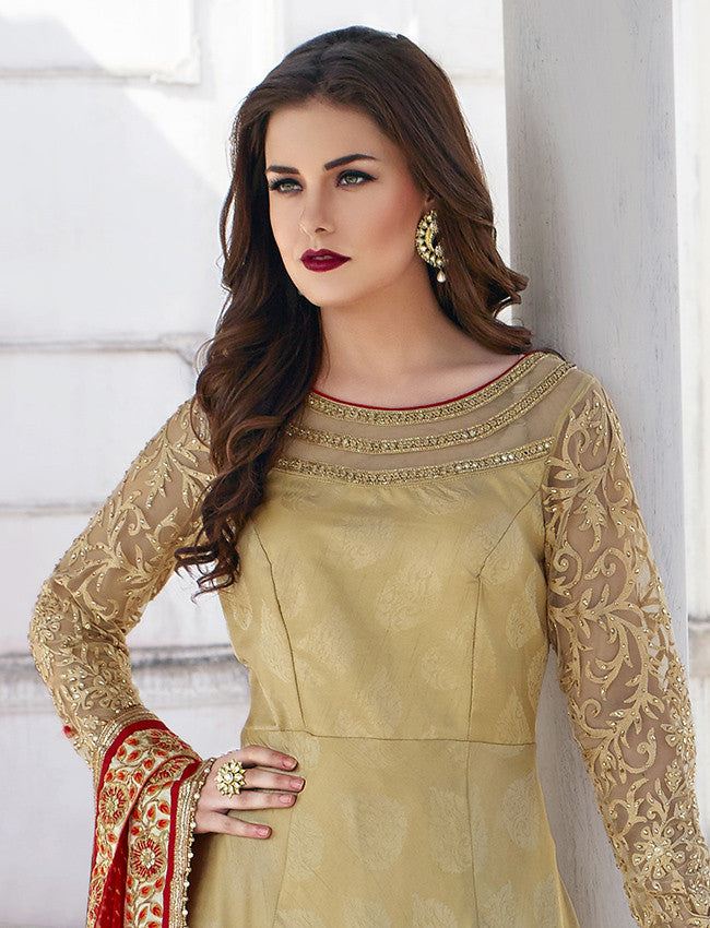Beige anarkali suit with zari embroidery
