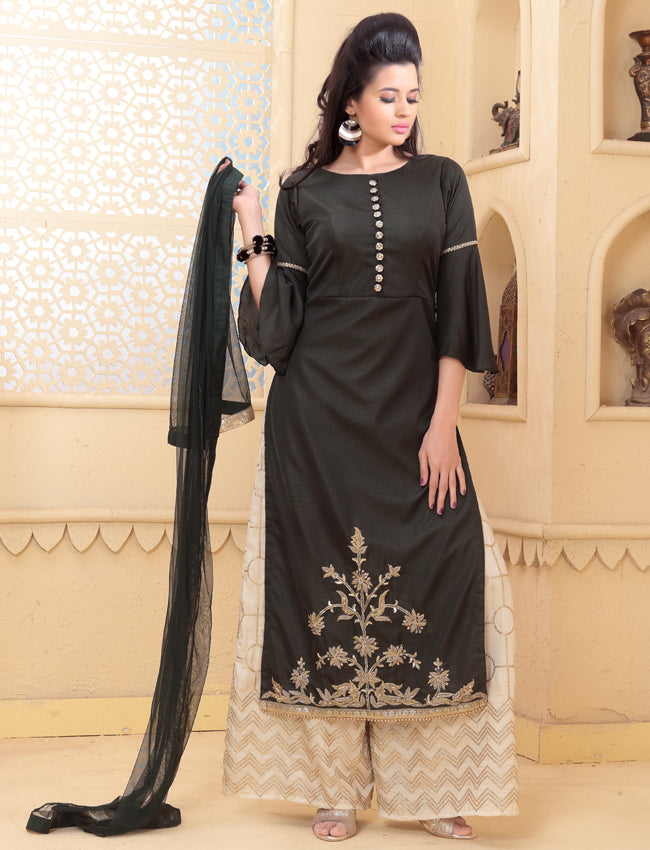 Dark olive green palazzo suit with zari embroidery and handwork