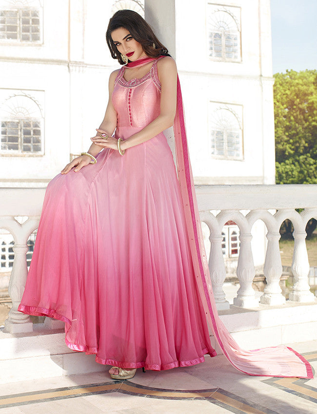 Rose pink shaded anarkali suit with embroidery