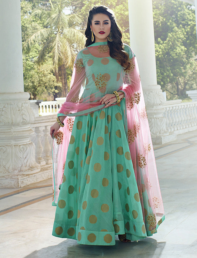 Turquoise anarkali suit self weaving