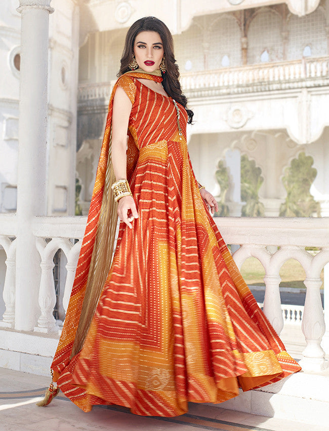 Orange and yellow bandhani printed anarkali